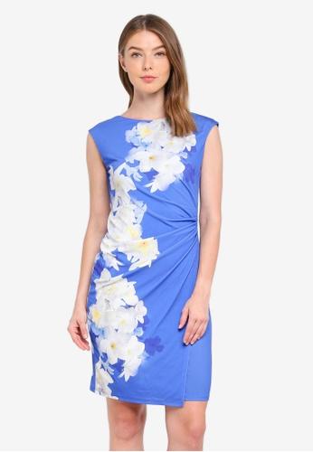 Wallis blue Blue Floral Print Detailed Shift Dress BA2DCAA9CAA4E6GS_1