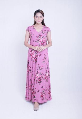 12166780f81 Nicole short sleeve floral long dress
