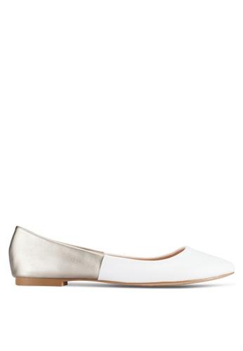 ZALORA white and silver Basic Two Tone Ballerinas 089F5SHF42D082GS_1