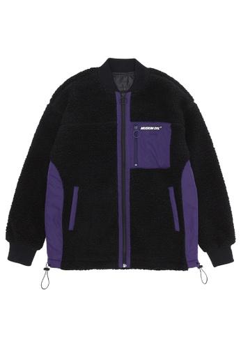 MUSIUM DIV black Contrast sherpa zip jacket 807F2AACFCC69DGS_1