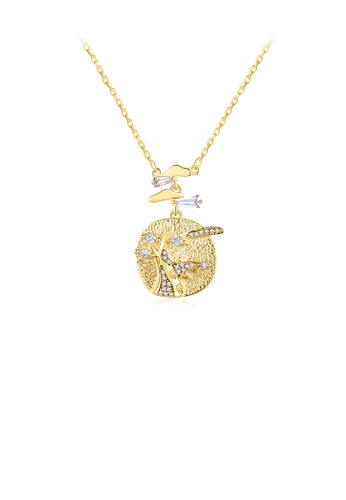 Glamorousky white Fashion and Creative Plated Gold Geometric Circular Pattern Pendant with Cubic Zirconia and Necklace C8828AC50272F7GS_1