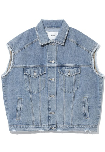b+ab blue Frayed denim vest 63B91AA060002BGS_1