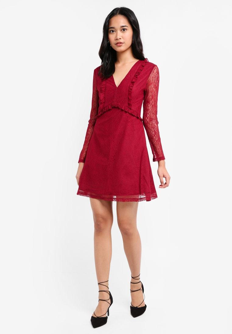 Ruffle Dress Babydoll Something Borrowed Maroon Lace qqrOwECB