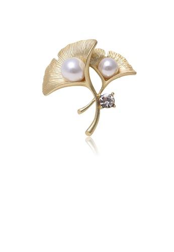 Glamorousky white Fashion Simple Plated Gold Ginkgo Leaf Imitation Pearl Brooch 68E5BAC198DF38GS_1