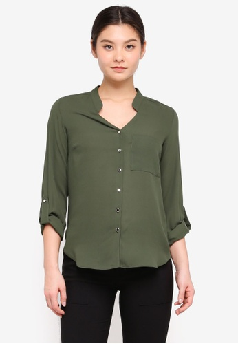 Dorothy Perkins green Khaki Roll Sleeve Shirt 6891CAA420D409GS_1