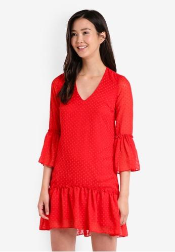 Miss Selfridge red Red Peplum Hem Skater Dress MI665AA14JYFMY_1