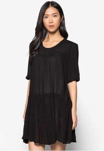 層次褶飾寬版連身裙, 服飾, zalora 男鞋 評價洋裝
