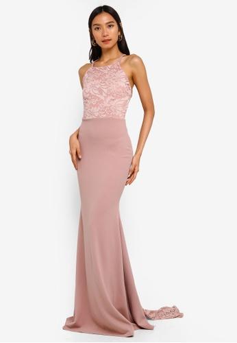 MISSGUIDED 粉紅色 細肩帶蕾絲長洋裝 AB7C2AAD7C87E2GS_1