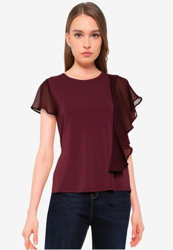 Vero Moda red Alberta Short Sleeves Frill Flounce Top 66936AAA639501GS_1