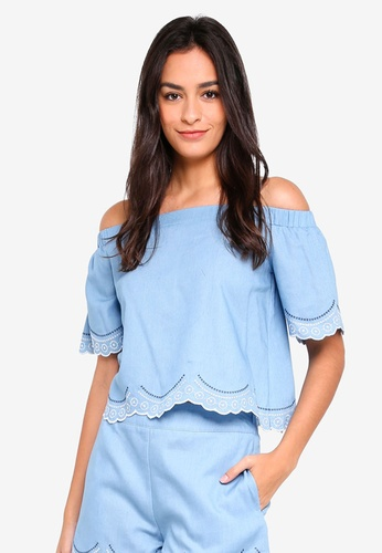 Something Borrowed blue Embroidered Scallop Top 87AF2AAD768950GS_1