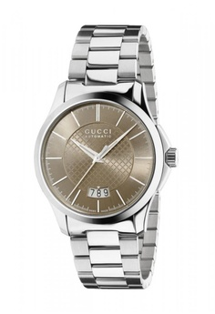 20d6719d709 Gucci silver and brown GUCCI G-Timeless Medium Automatic Brown Diamond  Pattern Dial Stainless Steel