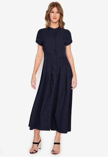 ZALORA WORK navy Midi Shirt Dress B4DADAA242E1F4GS_1