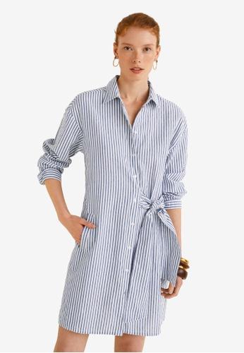 Mango blue Bow Cotton Dress 3692CAA1F7D159GS_1