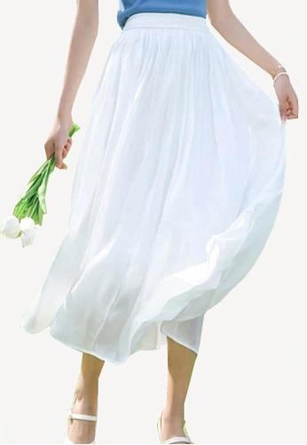 Twenty Eight Shoes white VANSA Pearly Yarn Pleated Skirt VCW-Sk18588 B7B3EAAE7B8E43GS_1