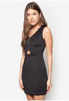 Love Zip Up Bodycon Mini Dress