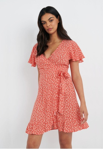 FORCAST red FORCAST Ann Ditsy Floral Wrap Dress 369CFAA5259961GS_1