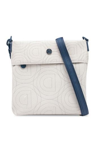 Desigual white Logomania Mini Square Sling Bag 5E270AC7ED5B3AGS_1