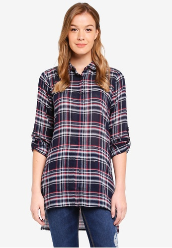 United Colors of Benetton blue Long Checked Shirt. DA473AABEE3830GS_1