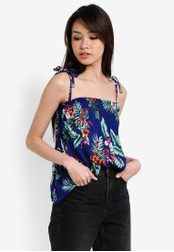Dorothy Perkins blue Blue Tropical Tie Strap Cami Top DO816AA82UTHMY_1