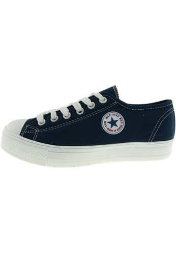 Maxstar 藍色 新款韩国鞋C1-6H時尚帆布布混合女深藍色 US Women Size MA345SH26GSFTW_1
