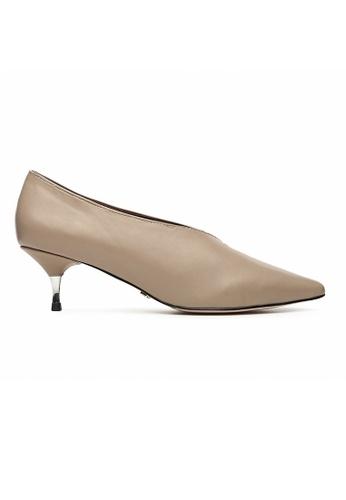 Byford beige Elaine V-neck Heels 76B01SH2A35E32GS_1