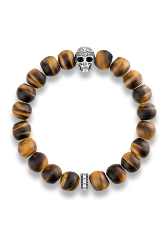 "Thomas Sabo brown Bracelet ""Power Bracelet Skull with Lily"" TH376AC0GMS8SG_1"