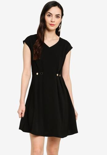 ZALORA WORK black Button Detail V Neck Dress 293BEAAA0063DEGS_1