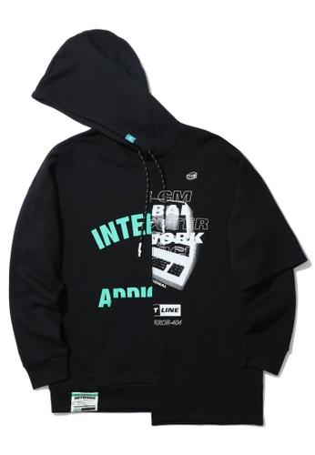 Fivecm black Spliced print graphic hoodie A88FAAAF2E0714GS_1