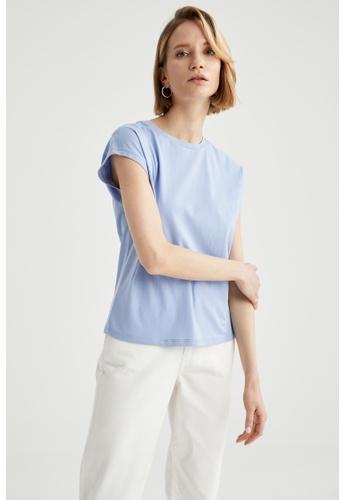 DeFacto blue Short Sleeve Round Neck Cotton T-Shirt B9DD5AAD129E14GS_1