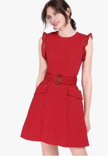 Saturday Club red Mesh-Trimmed Belted Dress With Pockets F6C44AAC38060DGS_1