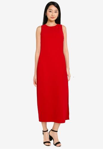ZALORA BASICS red Slit Detail Maxi Dress F2CDFAA2DCEB63GS_1