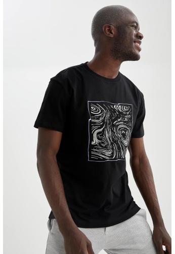 DeFacto black Short Sleeve Round Neck Cotton Printed T-Shirt 903E2AAF6238E5GS_1