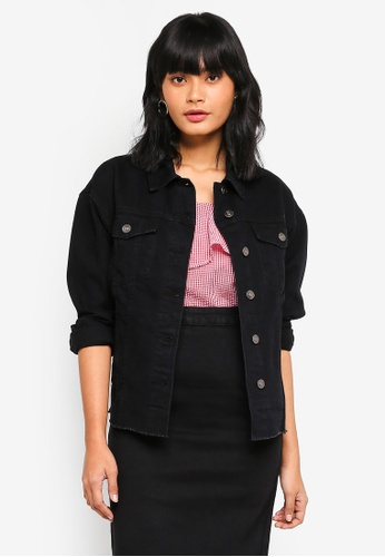 Something Borrowed black Oversized Denim Jacket 63E6BAA50F916AGS_1