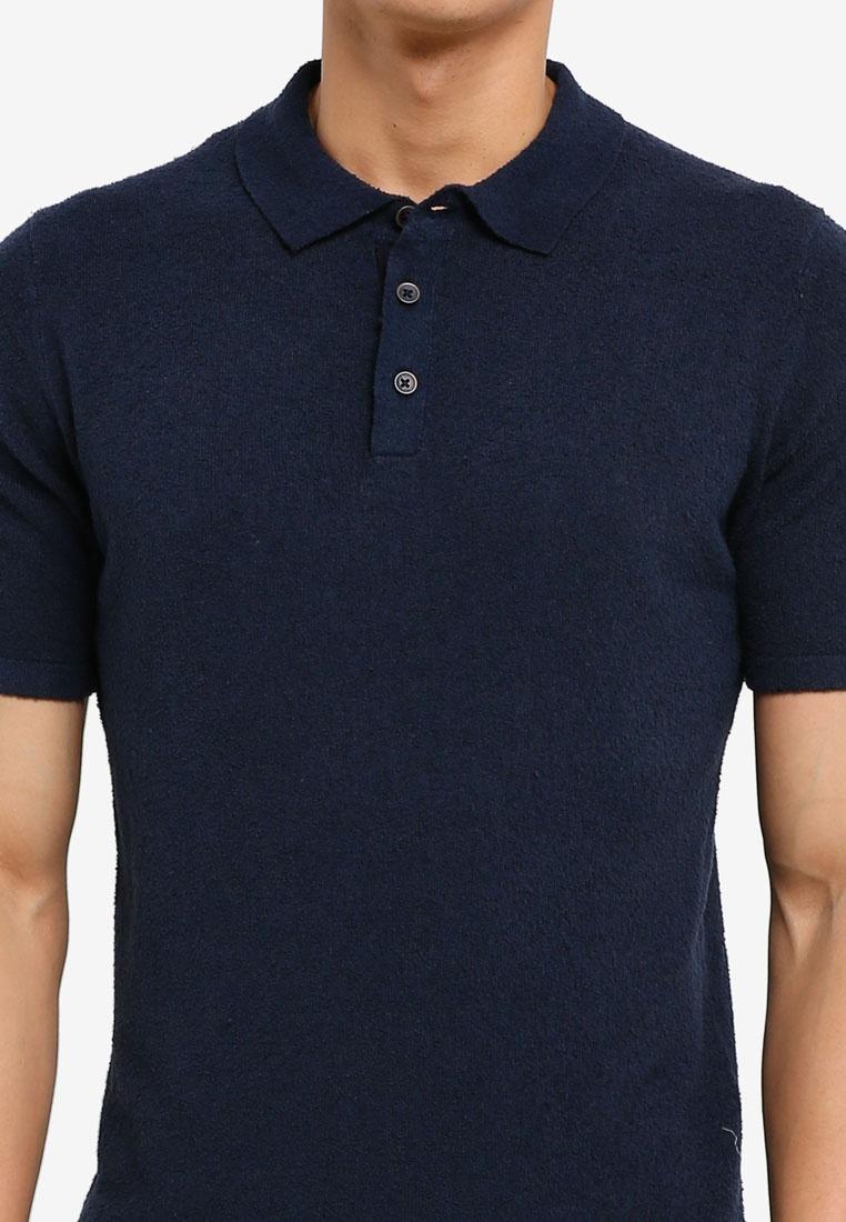 Navy Polo Shirt Textured Cotton Man MANGO qZwpvX75