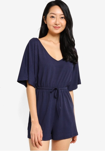 ZALORA BASICS navy Lounge Rib Bat Sleeves Playsuit 5ACB7AA817499EGS_1