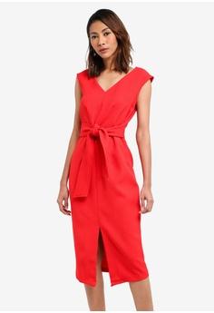 CLOSET red Waist Tie Pencil Dress E80BFAAB02968CGS_1