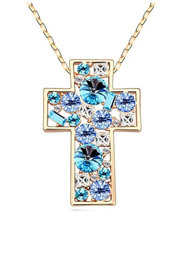 LOVENGIFTS blue LOVENGIFTS Glitter Cross Pendant Necklace (Blue) LO429AC41DTQMY_1