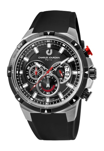Charles Jourdan black Charles Jourdan Men CJ1041-1332C Black Silicone Watch 5CCCDACDD28F02GS_1