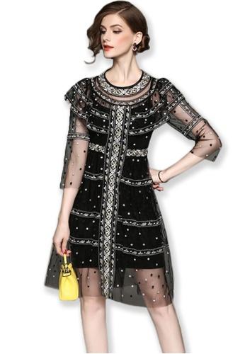 Sunnydaysweety black F/W Black Mid Sleeves See Through One Piece Dress A092715 SU443AA2V581HK_1