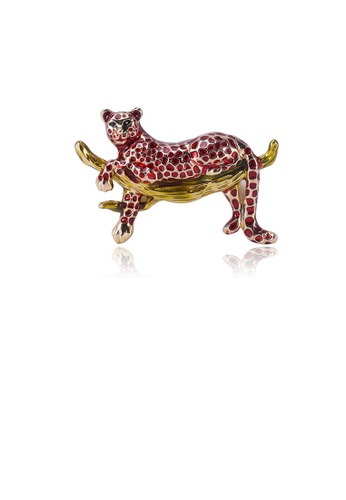 Glamorousky silver Fashion Personality Red Cheetah Brooch 70336ACAEBBFE5GS_1