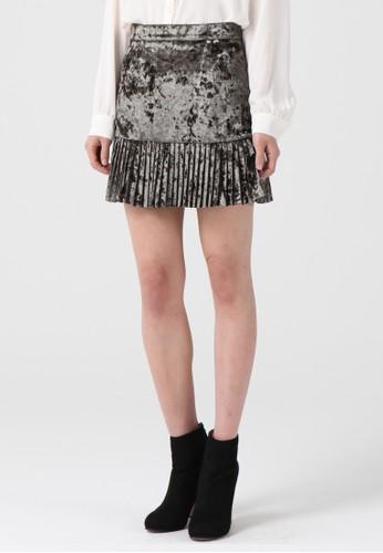 韓流時尚 天鵝絨迷你裙 F4012esprit門市地址, 服飾, 及膝裙