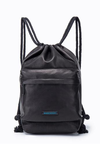 ENZODESIGN black Simple Life Utlra Soft Cow Leather Draw String Backpack EN880AC17RWWHK_1