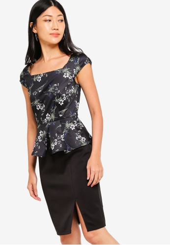 ZALORA black and multi Contrast Peplum Dress 6F2B5AADC75038GS_1