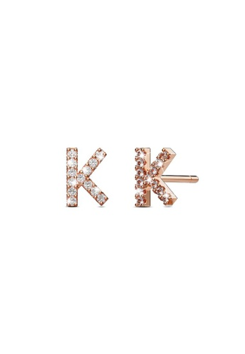925 Signature silver 925 SIGNATURE Solid 925 Sterling Silver Glamour Alphabet Letter Earrings Rose Gold - K 1574EAC2807256GS_1