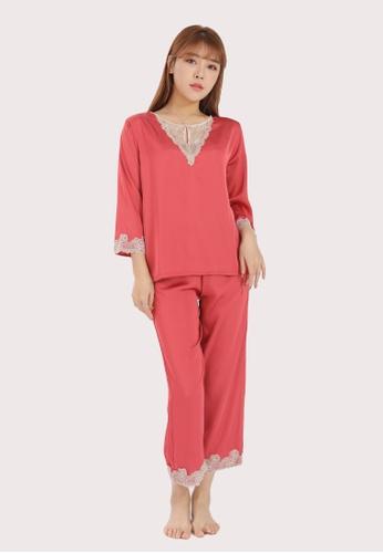 QuestChic pink and orange Caline Satin Pajama Set F84B6AAF3B4082GS_1