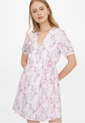 Pomelo pink Double Button Wrap Floral Dress - Pink FE3B7AA50ACD90GS_1