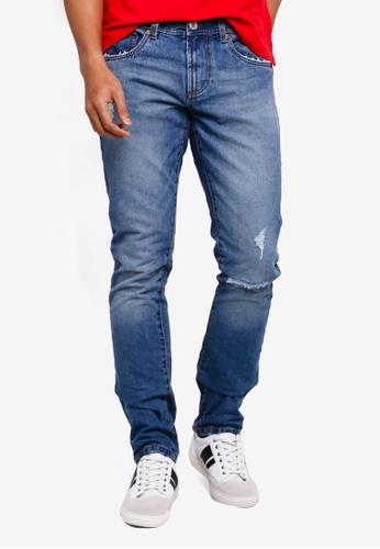 OVS 海軍藍色 刷破Straight 牛仔褲 85389AACC807EBGS_1