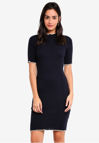37b7999a466 Buy Dorothy Perkins Navy Lettuce Frill Dress Online on ZALORA Singapore