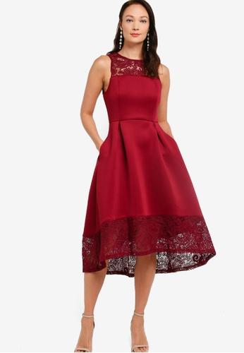 ZALORA OCCASION red Lace Detail Scuba Dress 81C89AAFA5D8EDGS_1