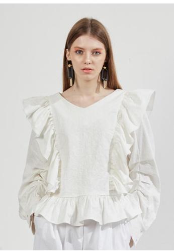 Workwear white Jacquard Ruffle Blouse WO056AA21FKCSG_1